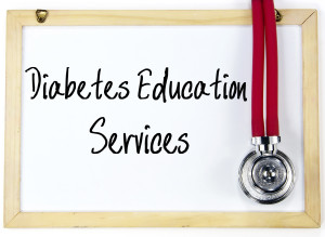 white board with diabetes education written on it