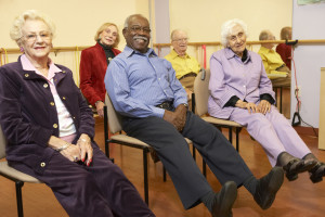 a group of seniors with diabetes exercising