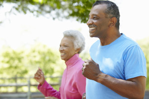 Senior African American Couple getting enough exercise in Park