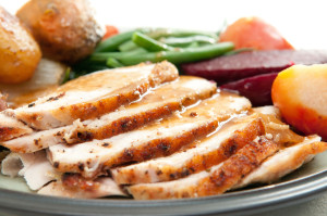A healthy meal for managing diabetes of sliced turkey with roasted potatoes, sugar beets, yams